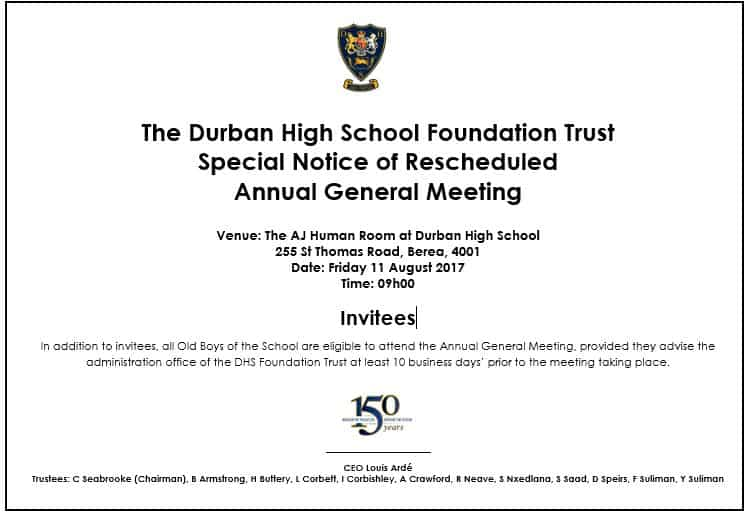Special Notice of Rescheduled DHSFT AGM 2017
