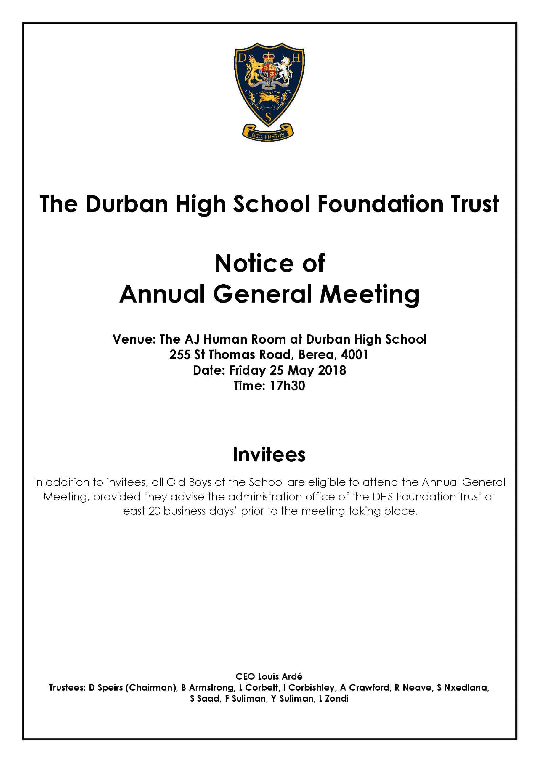 DHS Foundation Trust AGM 2018