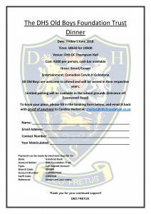 DHSFT Dinner Booking Form 2018