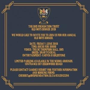 Old Boys Dinner Invitation 2018