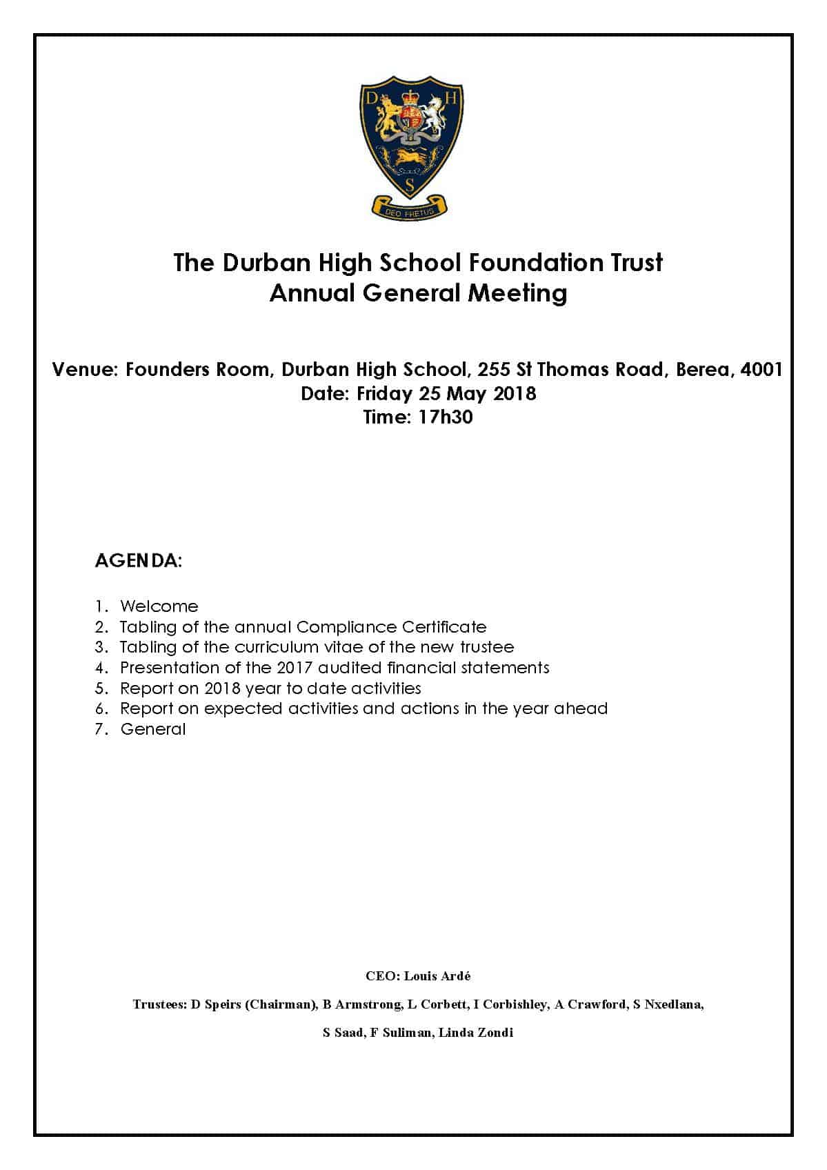 DHS Foundation Trust AGM 25 May 2018