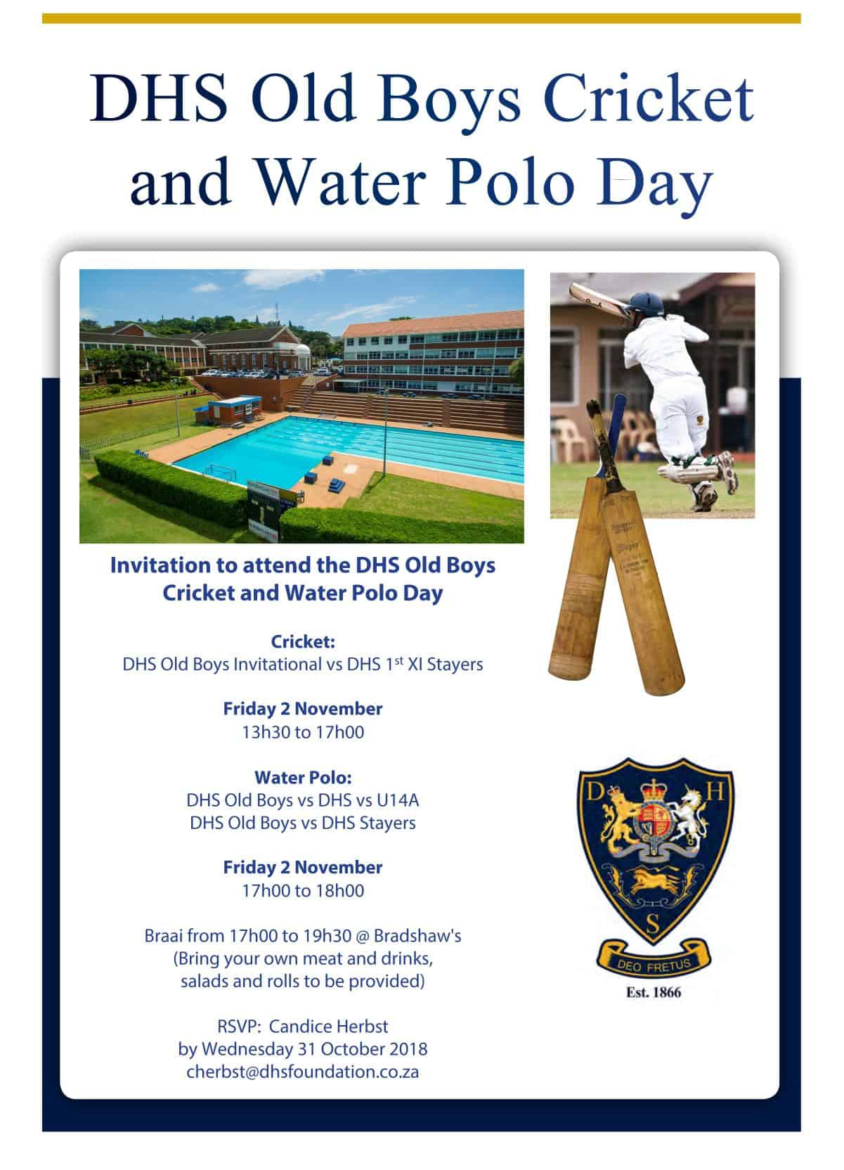 The DHS Old Boys Cricket and Water Polo Day 22 Sept 2018