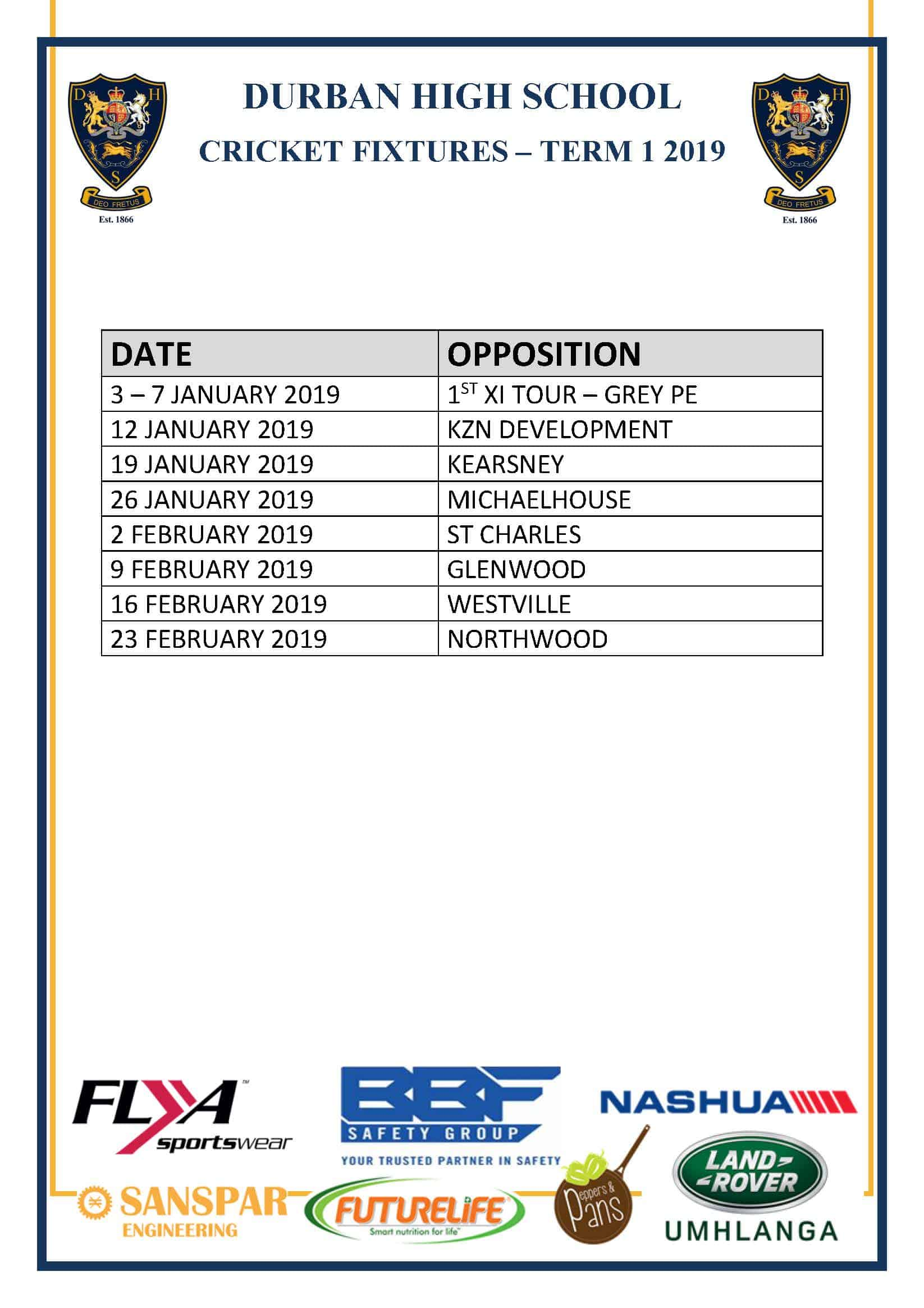 DHS Cricket Fixtures for 2019